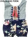 2017 bebé ropa de verano de la borla de bebé mameluco floral vintage impreso floral mameluco del bebé de la princesa del algodón ropa de bebé recién nacido