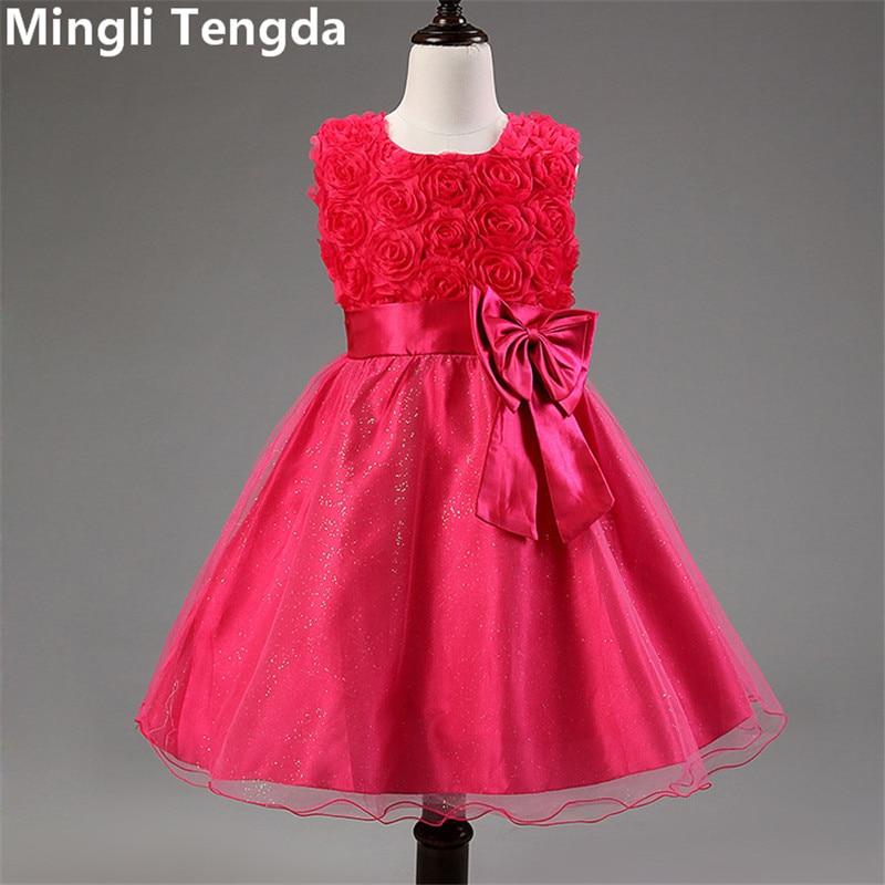 Mingli Tengda New Arrival White   Flower     Girl     Dress   with Formal Elegant Bow for Wedding Party   Girls     Dresses   2018 Red/Purple/Ivory