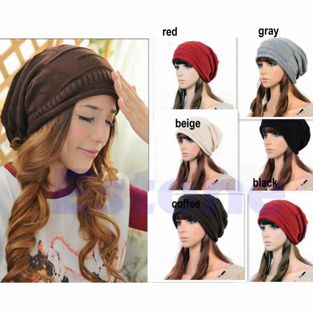 Hot Fashion Women Ladies Unisex Winter Knit Plicate Slouch Cap Hat Knitted   Skullies     Beanies   Casual 5 colors Free Ship F05