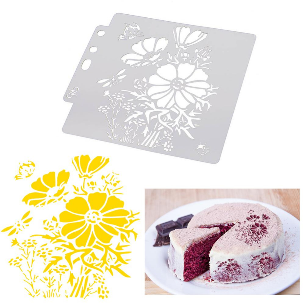 Flowers Coffee Stencils Cake Baking Templates DIY Scrapbooking Craft Stencils for DIY Coffee Scrapbooking Painting