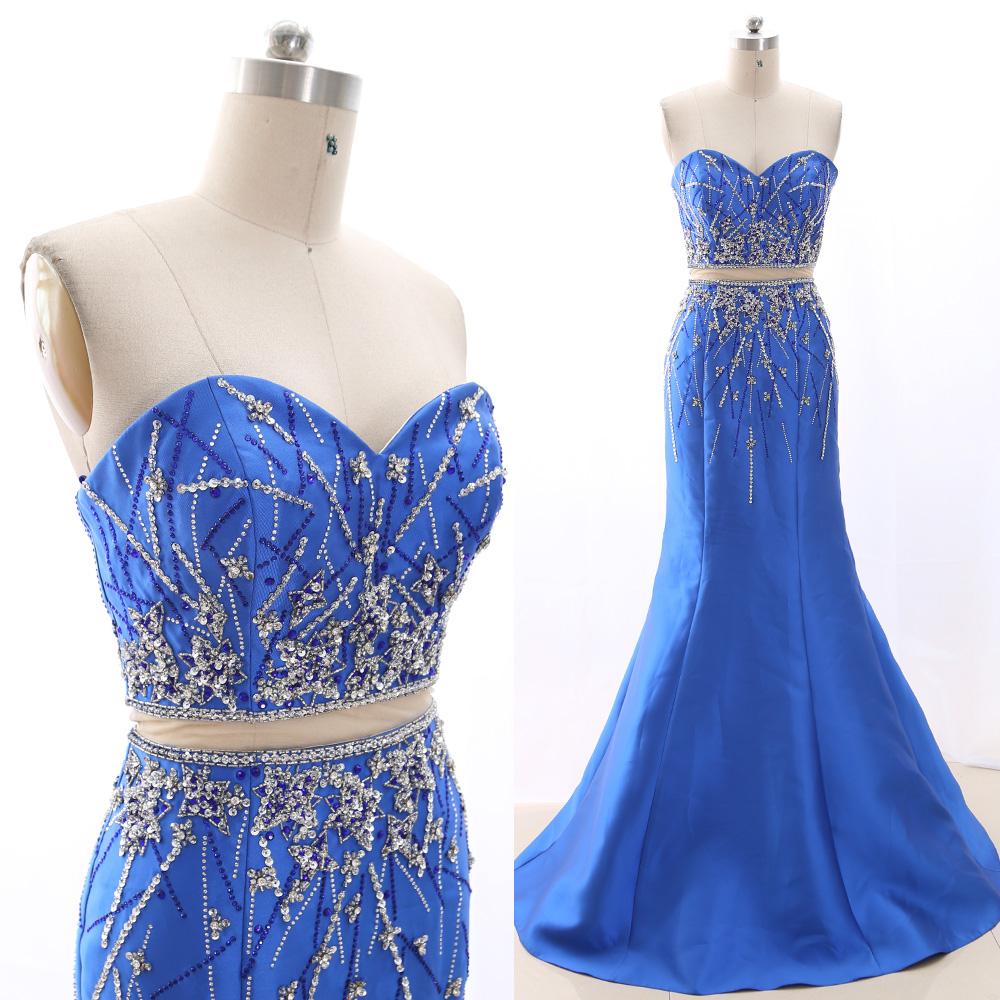 MACloth Royal Blue Mermaid Strapless Floor-Length Long Crystal Satin   Prom     Dresses     Dress   M 265943 Clearance