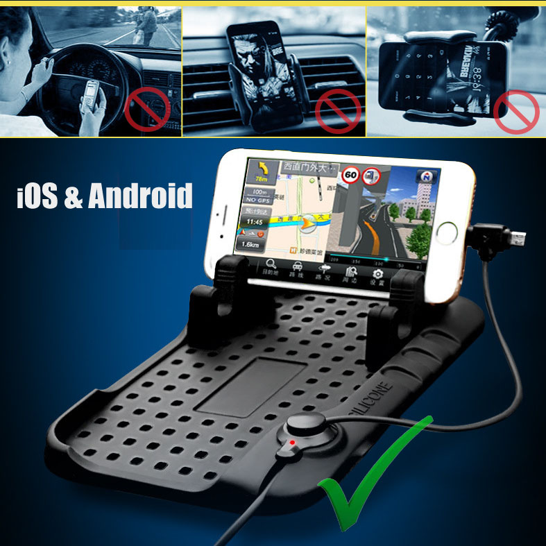 Pflichtbewusst Xukey Magnetic Charging Cradle Dock Stehen Anti-rutsch-silikon Pad Auto Handy Halterung Für Gps Iphone Android 2 In 1 Lade Kabel