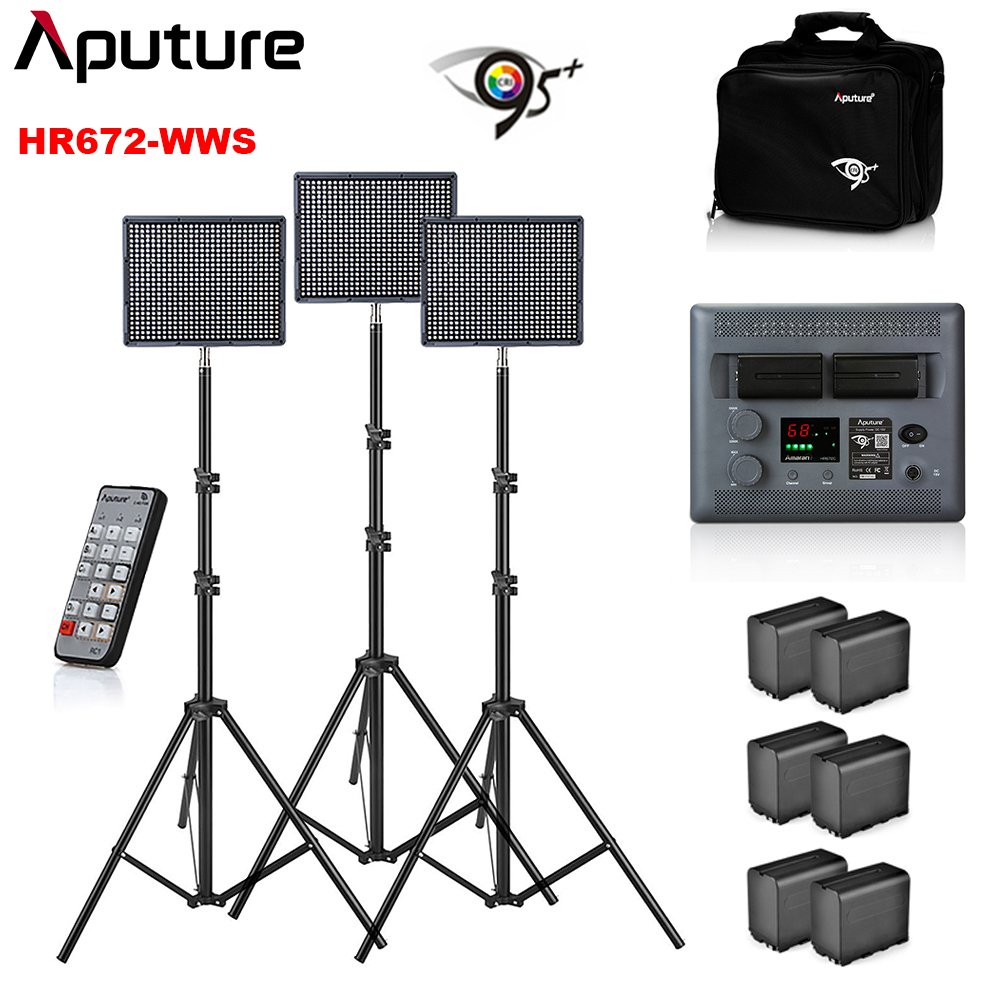 Aputure Amaran 2 pcs HR672W + 1 pcs HR672S CRI95 + Fotografia Luz Led Video Studio Luz w/2.4 g Wireless Control & Stands de Luz