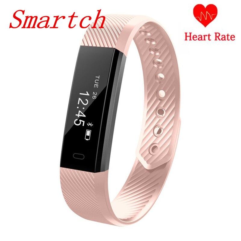 Smartch ID115 HR banda inteligente Bluetooth Monitor de ritmo cardíaco rastreador de Fitness podómetro inteligente pulsera para Android IOS Pk M