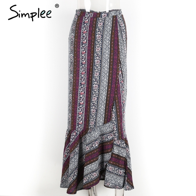 Simplee Vintage boho print split long skirt Summer 2017 soft cotton high waist mermaid skirt Women beach loose wrap maxi skirt