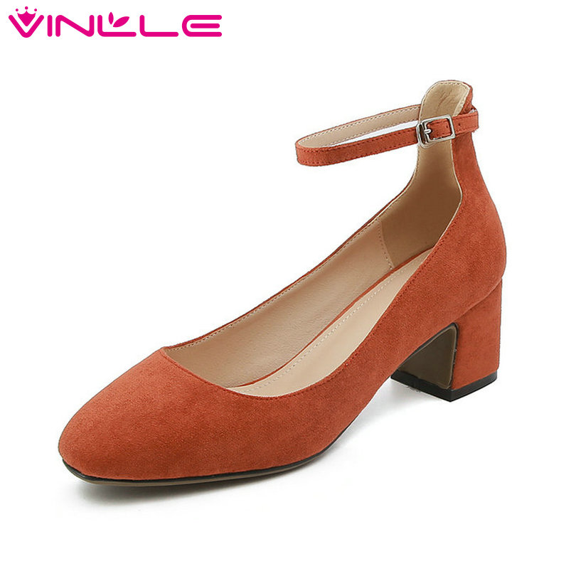 VINLLE 2018 Fashion Women Shoes Flock Square Med Heel Ankle Strap Pointed Toe Buckle Ladies Wedding Pumps Size 34-43