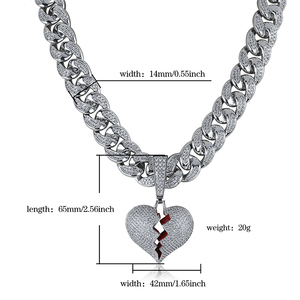 Image 5 - Ожерелье и кулон в форме сердца со сверкающим цирконием, большая кубинская цепь 14 мм в ширину, Ювелирное Украшение в стиле хип хоп золотого и серебряного цвета с кубическим цирконием для мужчин и женщин