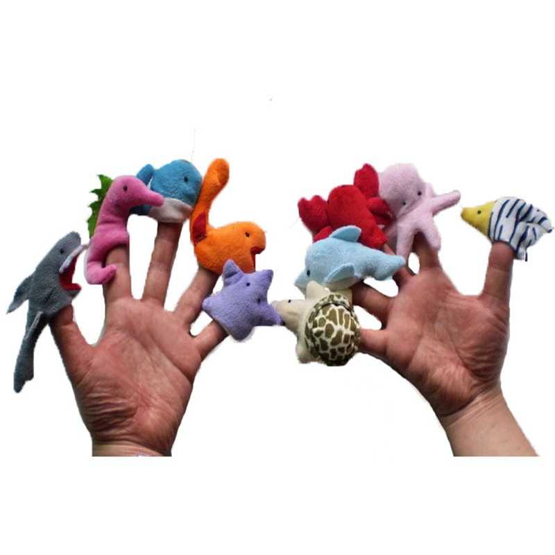 Linda caricatura animal marino marioneta de dedo juguete de felpa niños Favor muñeca historia utilería niños dedo marioneta juguetes 10 piezas- ZNNL061