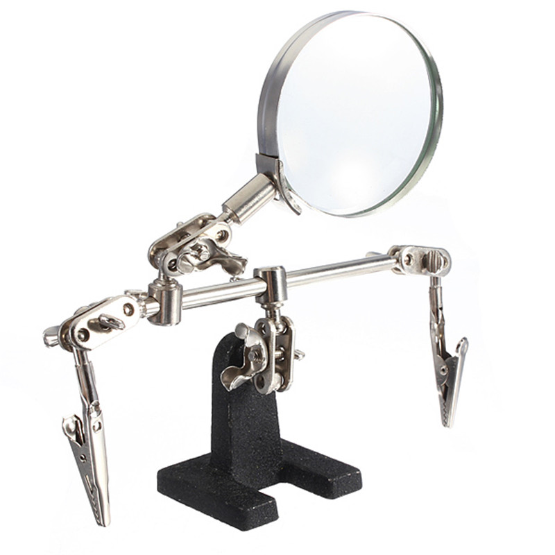 Helping Third Hand Tool Soldering Stand With 4X Welding Magnifying Glass Led 2 Clips 360 Degree Rotating Adjustable