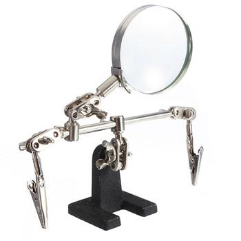 Pomocna trzecia ręka narzędzie lutowania stojak z 4X spawania lupy szkło led 2 klipy 360 stopni obrotowy regulowany tanie i dobre opinie ZEAST Stojący Styl Brak Metal