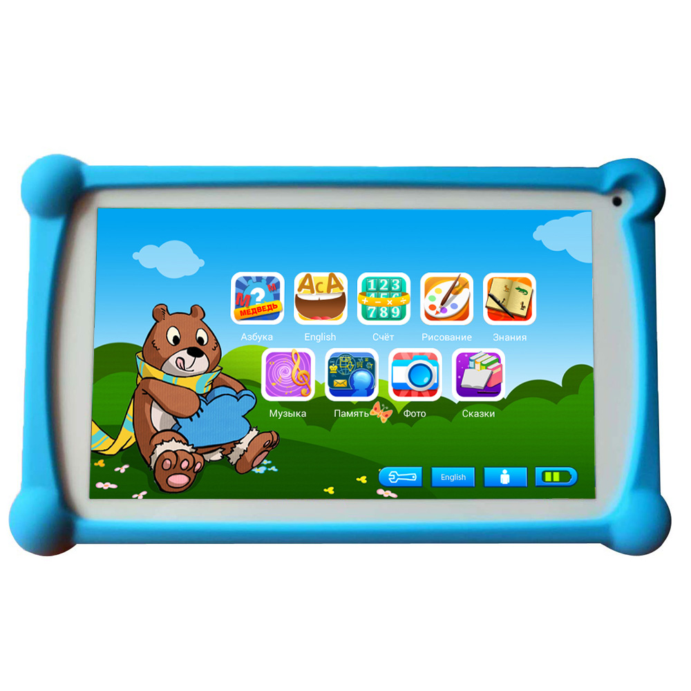 Newest B.B.PAW Kids Tablet 7 inch in Russian and English with 64+ Learning and Training Apps for Children 2 6 Years Old