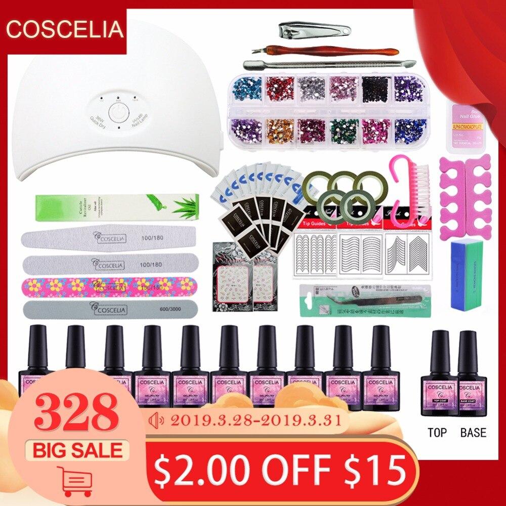 La manicura con lámpara de uñas Kit de 24 W/36 W UV lámpara LED para arte de uñas juegos de 10 piezas de 8 ml de Gel UV esmalte de uñas herramientas para manicura