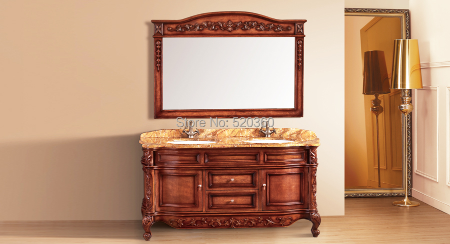 light brown oak, rainforest brown thicken marble cabinet and mirror, Bathroom Vanities-in ...