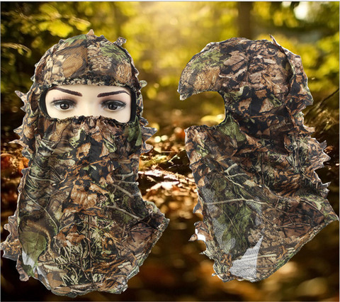 Tampas de Caça Ternos de Camuflagem para Cabeça Camufladas Máscaras Faciais Respiráveis 3d
