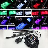 Car Auto Interior Wireless Remote Voice Music RGB Control 7 Colors Strip Decorative LED Light For