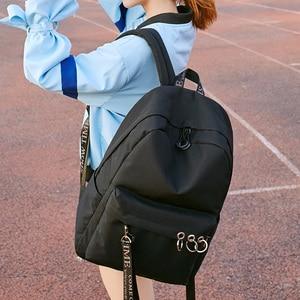 Image 5 - Waterproof Women Backpack Black and Pink Travel Bookbag Lady Back Bag KeyChain Knapsack College School Bag for Girls