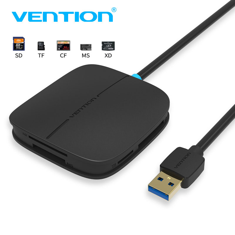 Vention SD Card Reader Multi-function USB 3.0 High Speed Card reader for SD/TF/CF/XD/MS Micro SD Card Smart Memory Card Reader otg usb 2 0 480mbps tf sd ms card reader w indicator blue white
