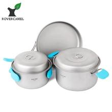Rover Camel Cookset Outdoor Camping Hiking Backpacking Picnic Cookware Cooking Set 3pcs Pot Pan Ta8501 цены