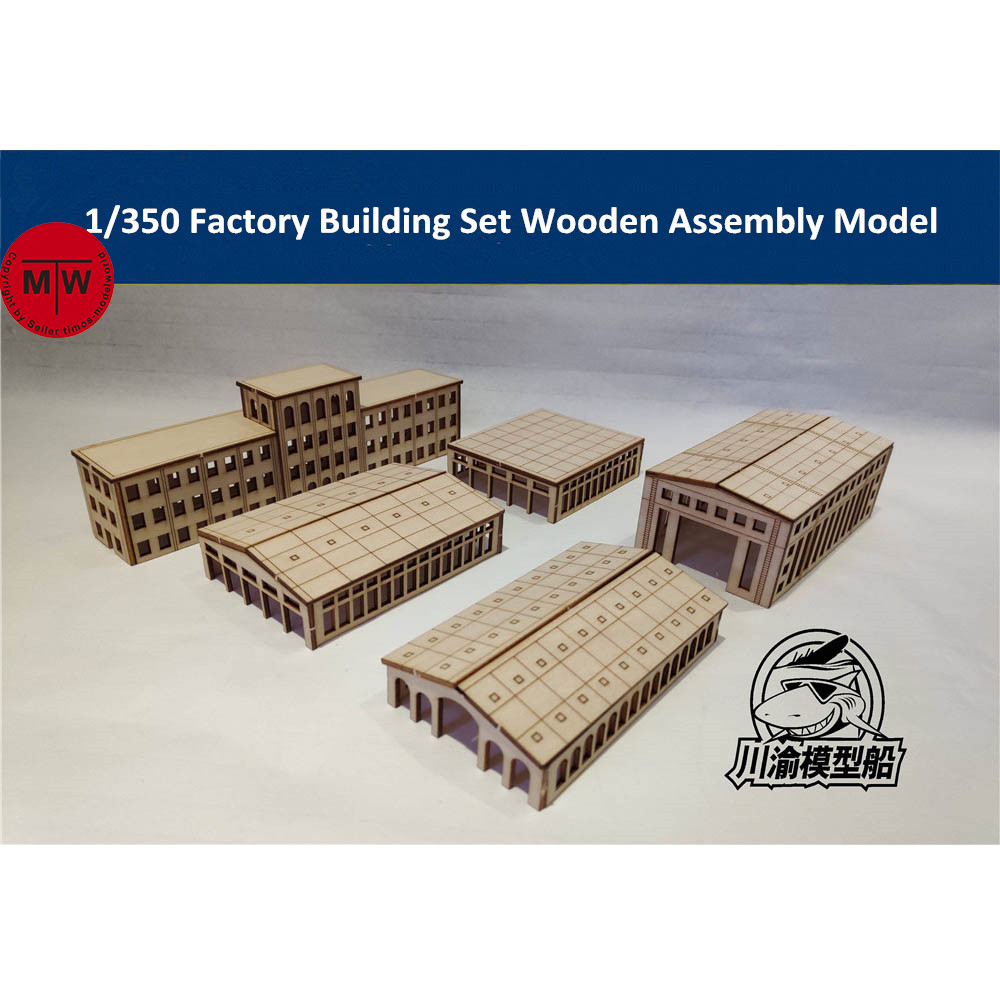 US $13 99 |1/350 Scale Factory Building Set Harbor Shipyard Dockyard  Diorama Scene DIY Wooden Assembly Model Kit TMW00021-in Model Building Kits  from