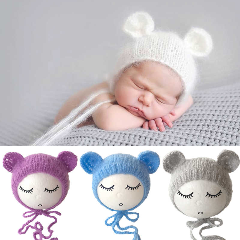 Newborn Mohair Ear Bear Hat Bonnet Baby Infant  Photography Props Cap Gorro Bebe Handmade Knitted Hats Photo Accessories