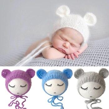 Noworodek moherowe ucho czapka niedźwiedź Bonnet niemowlę fotografia rekwizyty czapka Gorro Bebe ręcznie robione czapki z dzianiny akcesoria fotograficzne