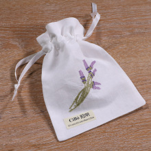 B002 : white ramie/cotton drawstring embroidery gift bags, 5×7 inches sachet bags, travel pouch, linen bag