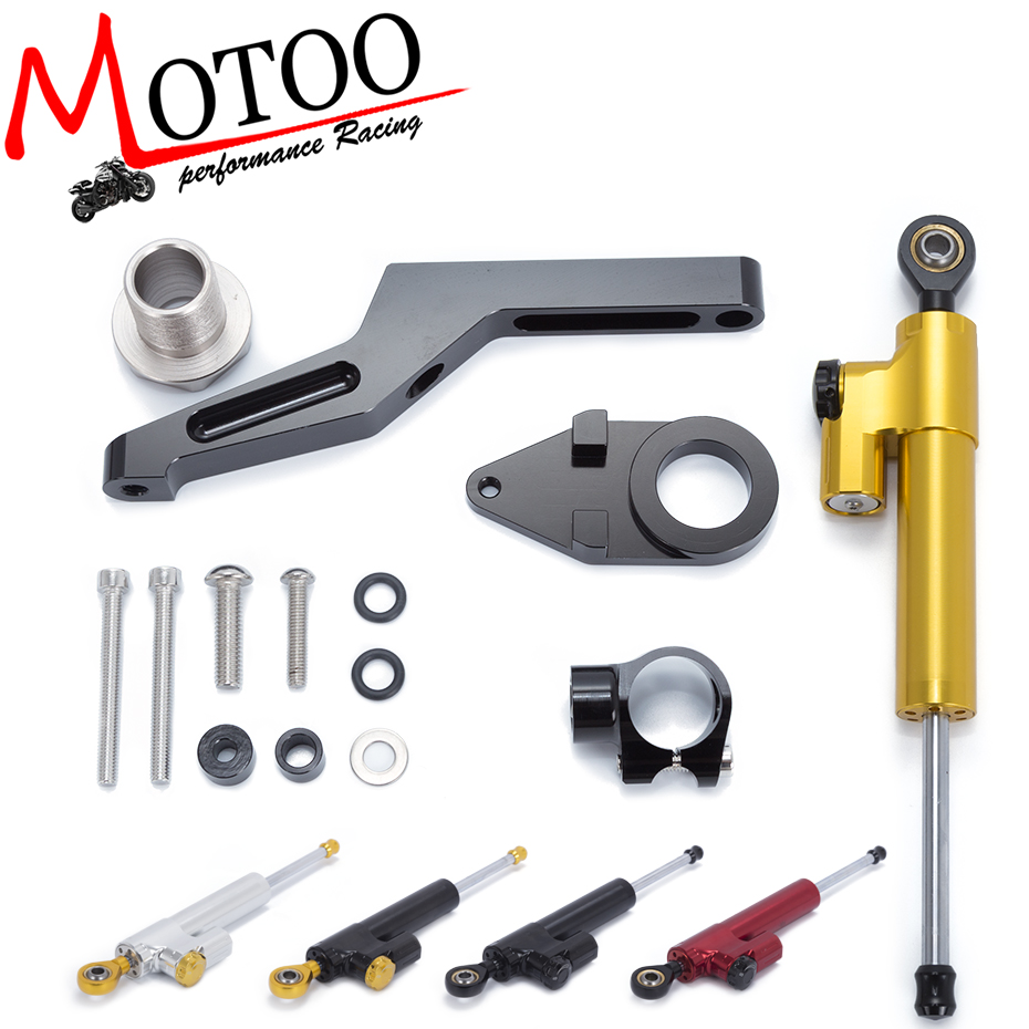 Motoo- Motorcycle Full set CNC Steering Damper Stabilizerlinear Linear Stabilizer Bracket kit For KAWASAKI ZX6R ZX-6R 2009-2016