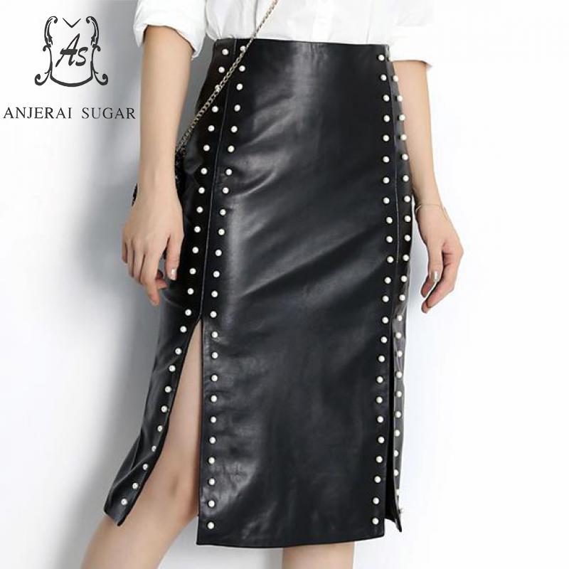 Automne hiver jupes en cuir véritable femmes noir taille haute perle rivet côté fente OL paquet hanche peau de mouton femme jupes longues