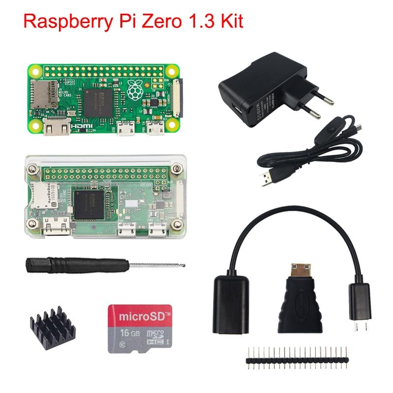 Raspberry Pi Zero1.3 Kit + Acrylic Case + 5MP Camera + Micro OTG Cable + GPIO Header +Mini HDMI Adapter +16G SD Card + USB Cable цена