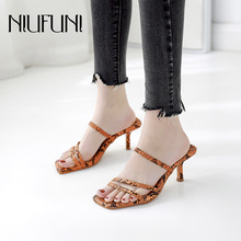 Snake Pattern Slippers 2019 Summer New Womens Sandals NIUFUNI Ladies Sexy High Heels Square Head Casual Hollow Shoes Women