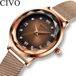 Image 1 - Fashion Women Watches 2019 CIVO Waterproof Rose Gold Steel Mesh Strap Quartz Women Watch Top Brand Ladies Clock Relogio Feminino