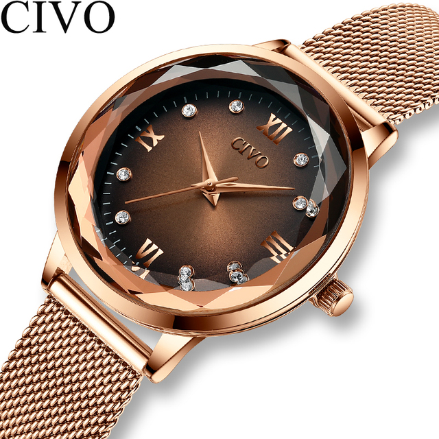 Fashion Women Watches 2019 CIVO Waterproof Rose Gold Steel Mesh Strap Quartz Women Watch Top Brand Ladies Clock Relogio Feminino