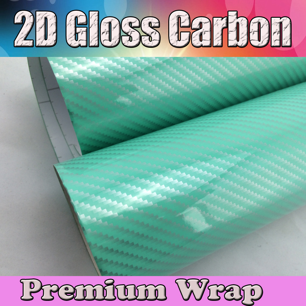 Haute qualité Tiffany Blue 2D carbone vinyle Wrap voiture autocollant feuille Air canal voiture décorative pour habillage de véhicule taille: 1.52x30 m/roll