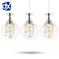Modern Pendant Chandelier 1 2 3 Head Optional LED Crystal Pendant Lamp Three Head Disc Tray