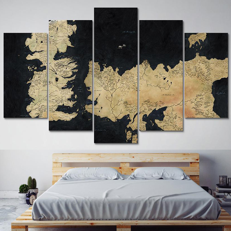 Modular HD Printed Canvas Poster Framework Wall Pictures 5 Panel Game Of Thrones Map Art Painting Home Decoration Living Room