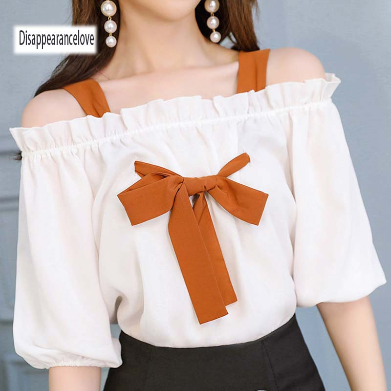 Sexy Slash Neck Off Shoulder Top Chiffon Blouse Autumn Women Blouses 2018 Lantern Sleeve ...