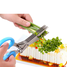 Multi-functional Stainless Steel Kitchen Knives 5 Layers Scissors Sushi Shredded Scallion Cut Herb Spices Scissors Kitchen Tools