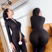2017 New Open Crotch Black Striped Sheer Bodystocking Bodysuit Sexy Lingerie For Women Smooth Fiber Double