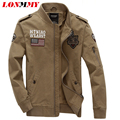 LONMMY 2016 осень куртка мужчины пальто мужские куртки и пальто Военные зимние куртки Мужчины пальто Военный бомбардировщик Хлопка М-4XL