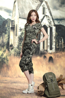 2017 Women Summer Casual Sets Plus Size Army Suits Two Pieces Sets Female Tracksuit Camouflage 1Pcs