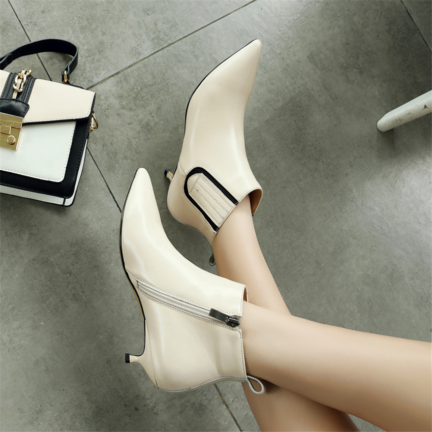 Printemps Véritable Bas Femme Beige Courtes Chaussures noir De Haute Qualité Talon Automne Haut Bottes Femmes Cheville Cuir 1fq1wF0