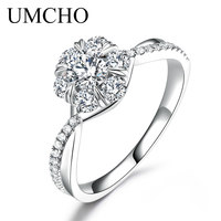 UMCHO Круглый Муассанит обручение кольцо с натуральным бриллиантом белого золота 18 К изысканное кольцо навсегда Свадебные украшения подарок