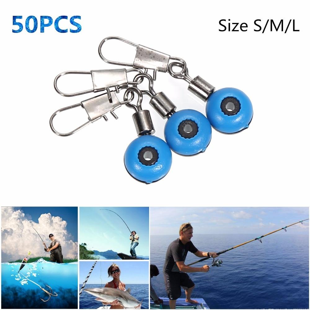 50 unidades/pacote multi-tamanho de linha de pesca dobadoura para gancho gira haste clipe conector interlock snap mar espaço feijão isca ferramenta de pesca