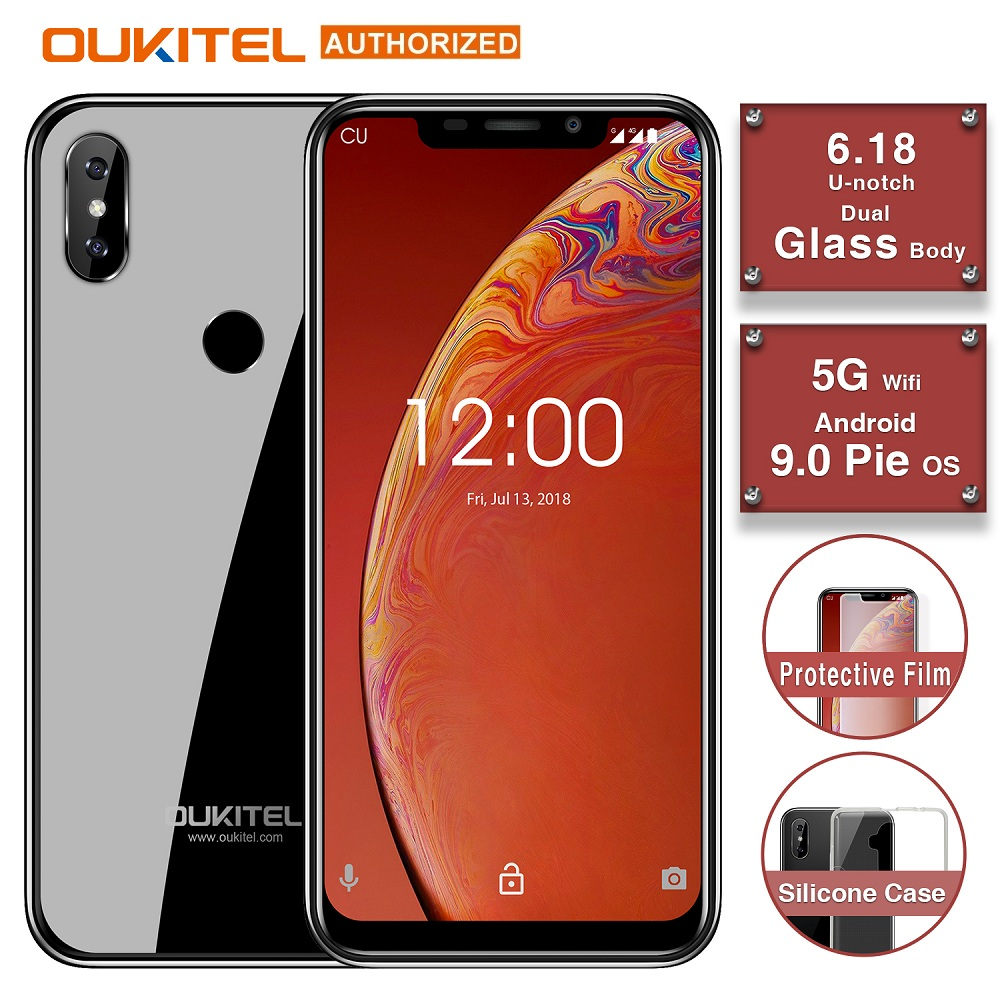 "OUKITEL C13 Pro 4G Smartphone 5G/2.4G WIFI 6.18"" 19:9 2GB 16GB Android 9.0 MT6739 Quad Core Face ID Fingerprint Mobile Phone"
