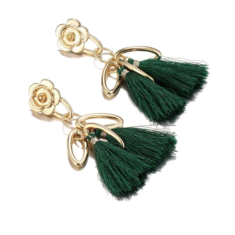 LNRRABC Ethnic 1Pair New Circle Statement Jewelry Unique Women Flowers Allergy Free Tassels Cotton Graceful drop Earrings