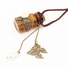 Womens Hollow Flower Wish Bottle Necklace Butterfly Bottle Long Rope Chain Necklace
