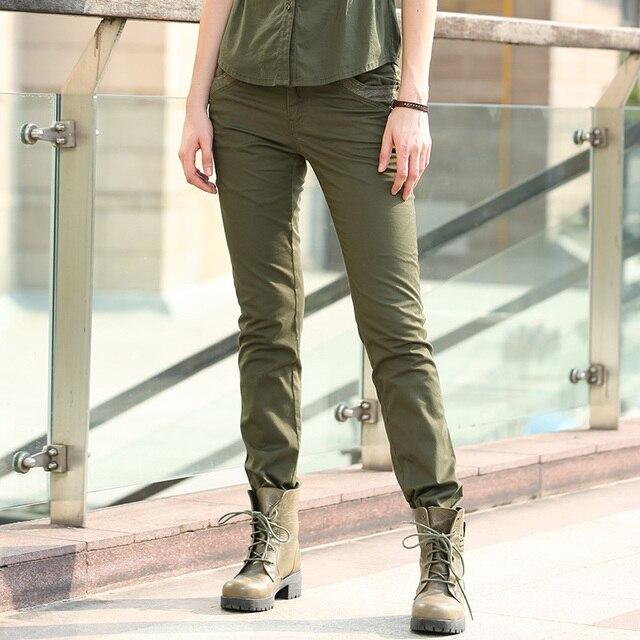 the best attitude 0722d 82b8f US $26.15 |Nuova moda donna primavera pantaloni militari slim casual donne  in bianco del merletto di cucitura pantaloni pantaloni verde militare donne  ...