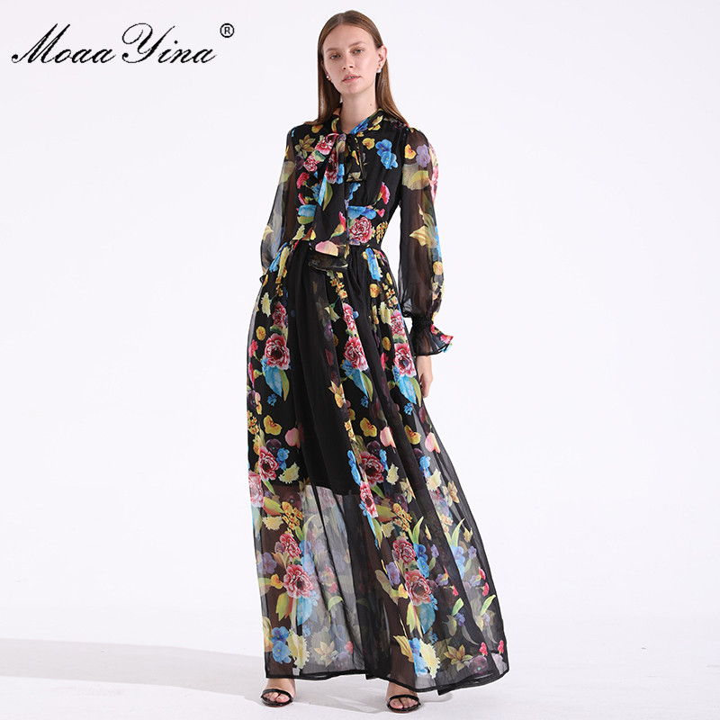 MoaaYina Fashion Designer Runway Summer Women Dress Bow collar Long sleeve Floral Print Holiday Parties Noble Elegant Maxi Dress