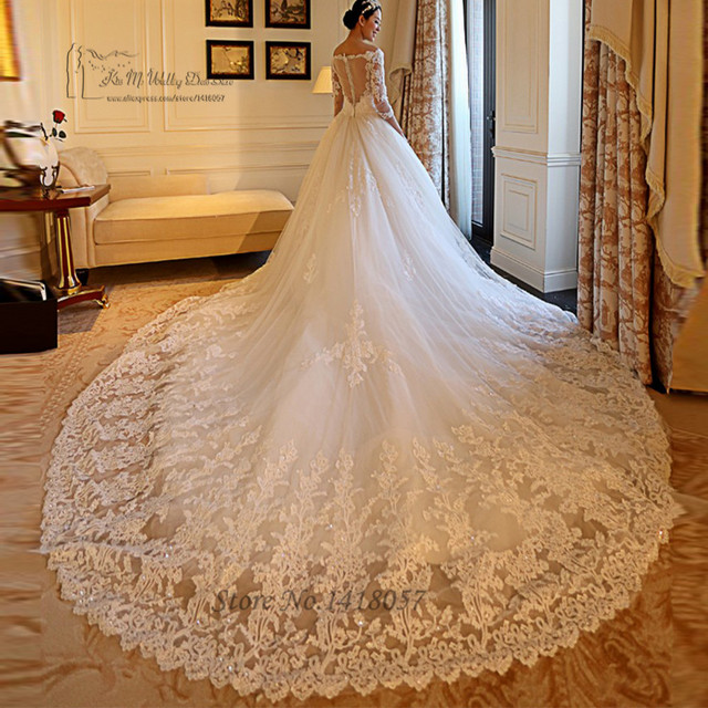 Long Sleeve Wedding Dresses With Long Trains : Long train wedding dresses lace bridal v neck sleeve