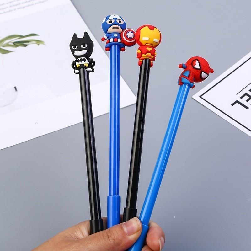 1PCS New Cute Cartoon Superhero Gel Pen Student Stationery Novelty Gift School Material Office Supplies